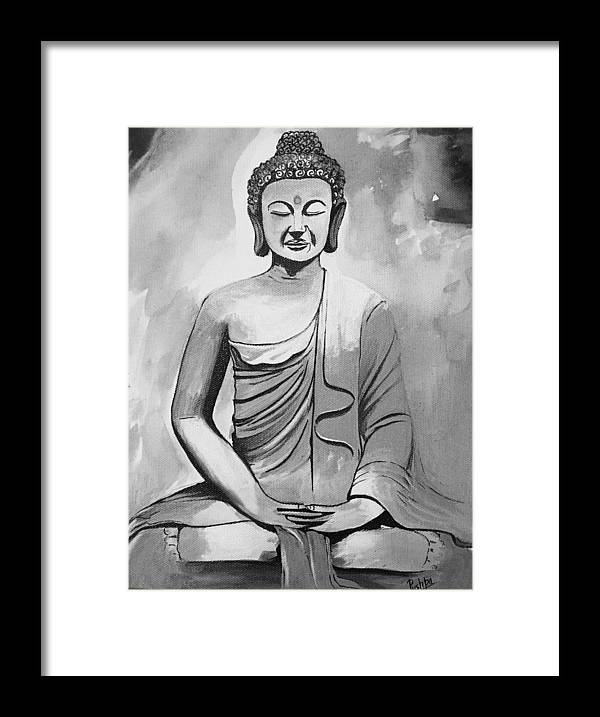 Lord Buddha In Black And White Framed Print by Pushpa Sharma