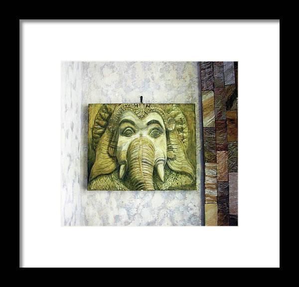 Ganesha Artwork Framed Print featuring the relief Lord Ganesha by Constantin Sobaru