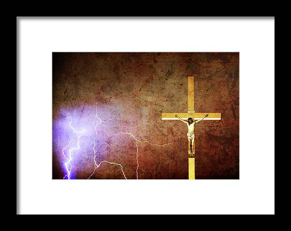Lightning Framed Print featuring the photograph Lord Have Mercy - Crucifixion Of Jesus -2011 by James BO Insogna