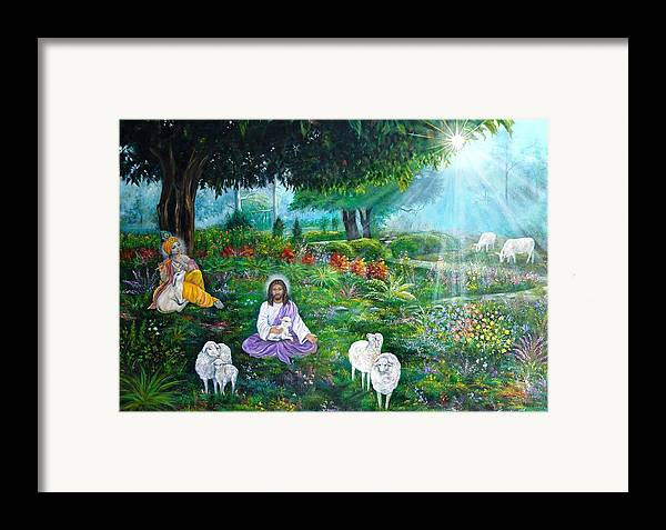 Jesus Framed Print featuring the painting Lord Jesus And Lord Krishna by Sundara Fawn
