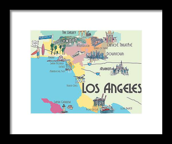 Los Angeles California Map Of Greater L A With Highlights Framed