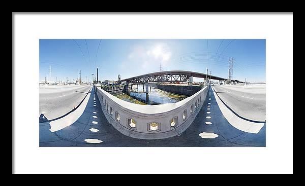 Bridge Framed Print featuring the photograph Los Angeles River Washington Avenue Bridge South by Pete Babij