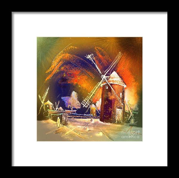 Framed Print featuring the painting Los Molinos Del Quijote 01 by Miki De Goodaboom