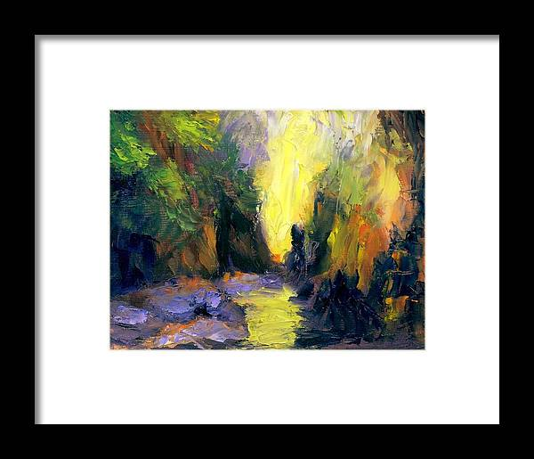 Landscape Framed Print featuring the painting Lost Creek by Gail Kirtz