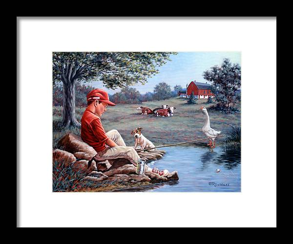 Boy Fishing Framed Print featuring the painting Lost In Thought by Richard De Wolfe