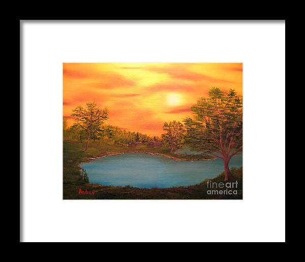 Landscape Framed Print featuring the painting Lost Lake by Todd Androy