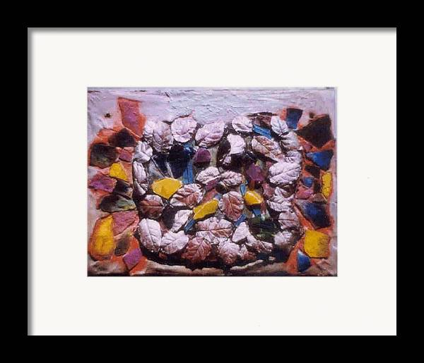 Broken Glass Cement Framed Print featuring the relief Lost Treasures.. by Rooma Mehra
