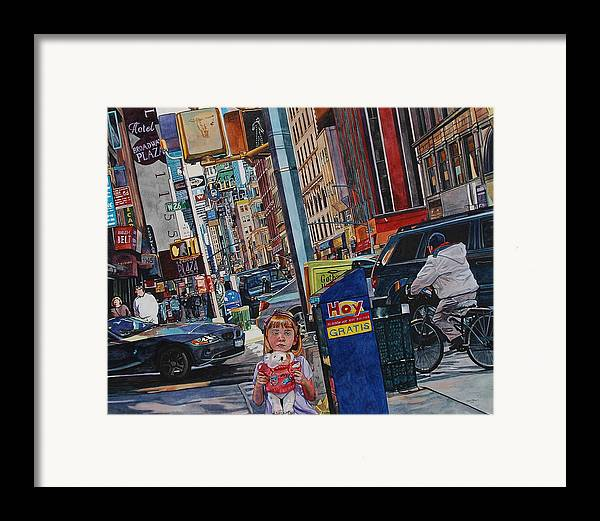 City Framed Print featuring the painting Lost by Valerie Patterson