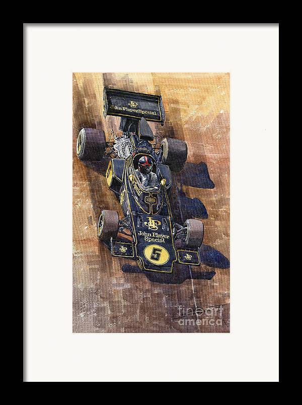 Watercolour Framed Print featuring the painting Lotus 72 Canadian Gp 1972 Emerson Fittipaldi by Yuriy Shevchuk