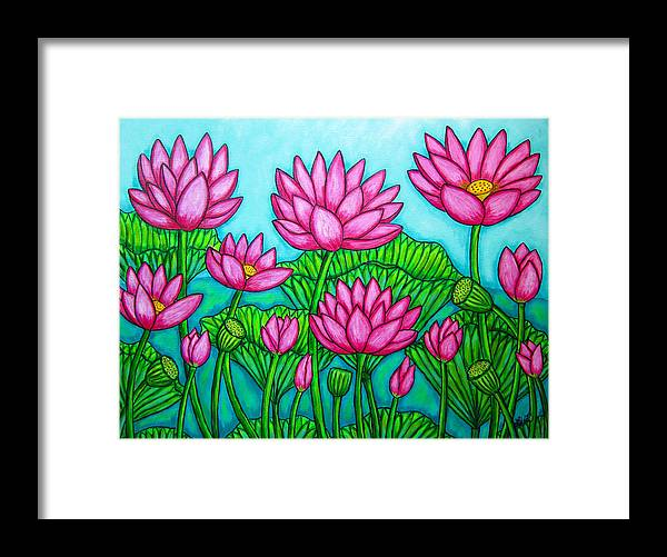Lotus Framed Print featuring the painting Lotus Bliss II by Lisa Lorenz