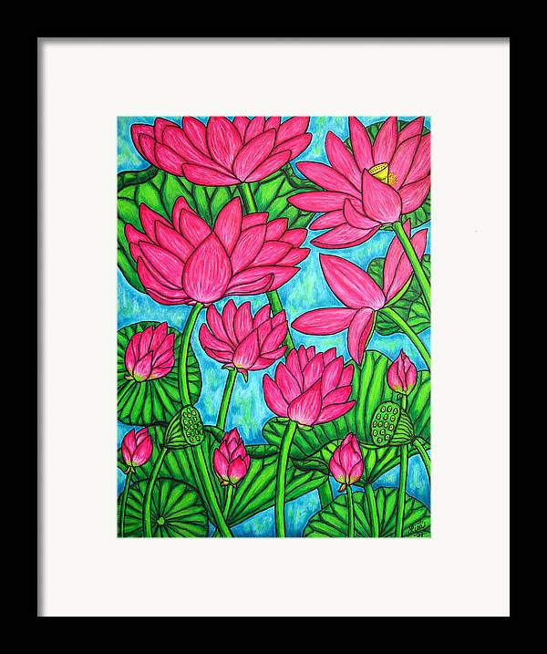 Framed Print featuring the painting Lotus Bliss by Lisa Lorenz