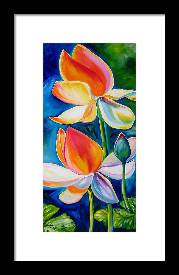 Lotus Framed Print featuring the painting Lotus Blossoming by Marcia Baldwin