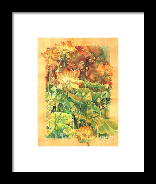 Flower Framed Print featuring the painting Lotus Field by Deborah Younglao