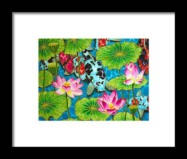 Framed Print featuring the painting Lotus Flower And Koi Fish by Daniel Jean-Baptiste