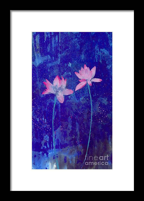Free Style Pink Lotus Flowers In Bluish Background. This Is A Contemporary Chinese Ink And Color On Rice Paper Painting With Simple Zen Style Brush Strokes.  Framed Print featuring the painting Lotus I by Mui-Joo Wee