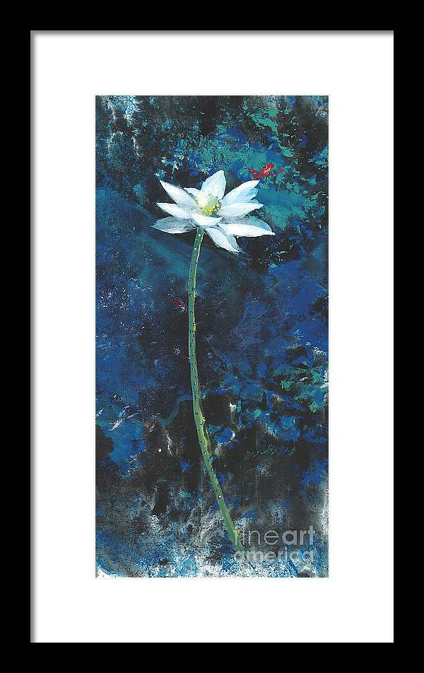 White Lotus Flower With A Red Dragonfly In Dreamy Green Background. This Is A Contemporary Chinese Ink And Color On Rice Paper Painting With Simple Zen Style Brush Strokes.  Framed Print featuring the painting Lotus IIi by Mui-Joo Wee