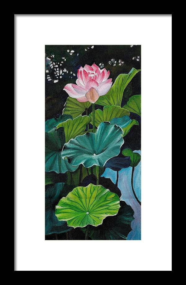 Lotus Framed Print featuring the painting Lotus by Jesna Jamal