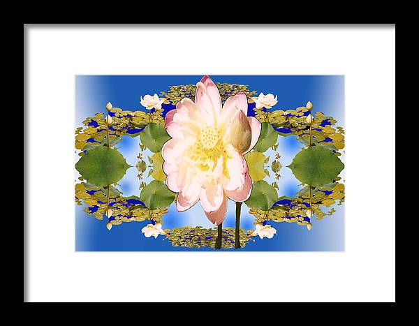 White Flower Framed Print featuring the digital art Lotus Mandala In Blue by Pederbeck Arte Gruppe
