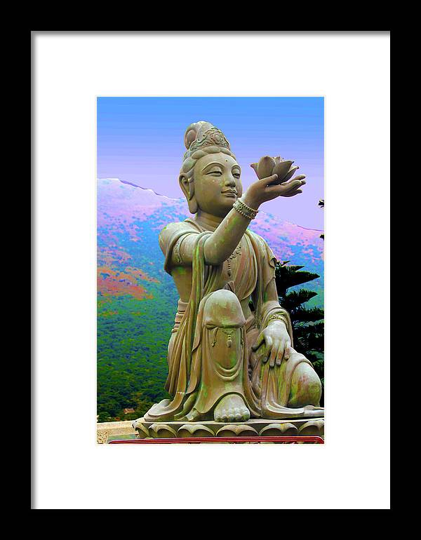 Statue Framed Print featuring the photograph Lotus Statue by Adina Campbell