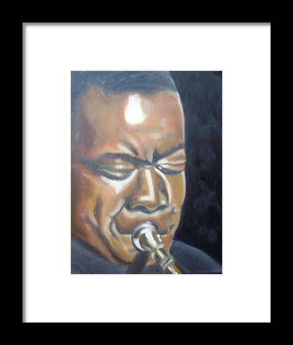 Louis Armstrong Framed Print featuring the painting Louis Armstrong by Toni Berry