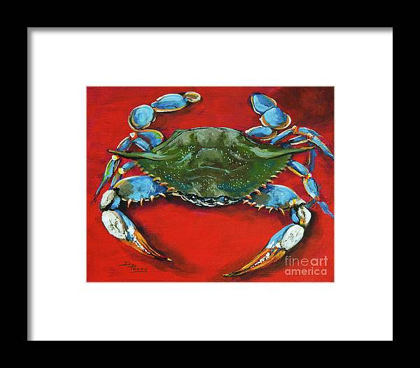 New Orleans Art Framed Print featuring the painting Louisiana Blue On Red by Dianne Parks
