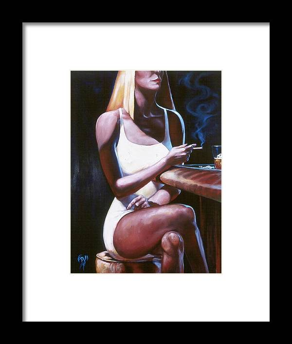 Figure Framed Print featuring the painting Lounge Lizard's Eye View by T Ezell