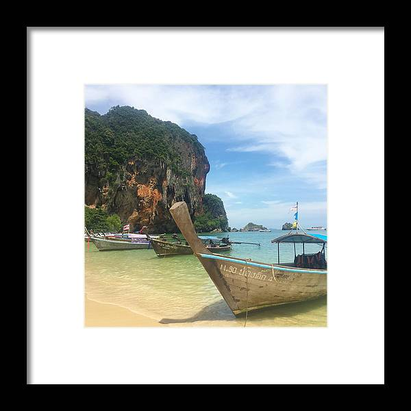 Thailand Framed Print featuring the photograph Lounging Longboats by Ell Wills
