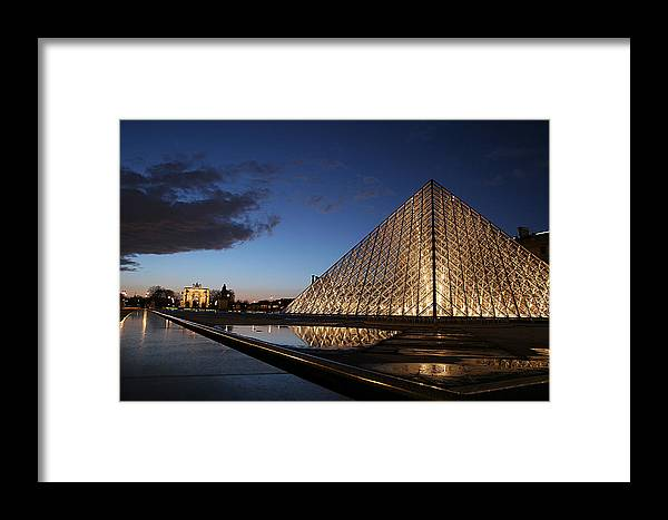 Paris Framed Print featuring the photograph Louvre Puddle Reflection by Joshua Francia