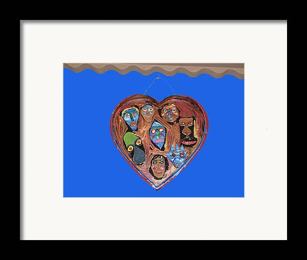 Lovable Faces Framed Print featuring the mixed media Lovable Funny Faces by Betty Roberts