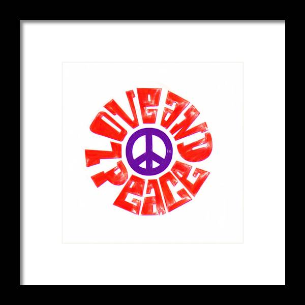 Illustration Framed Print featuring the painting Love And Peace 14 by Celestial Images