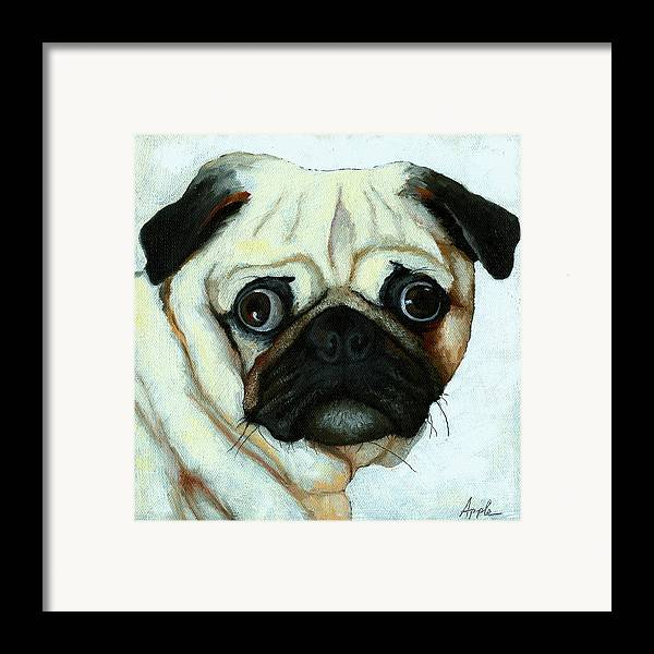 Dogs Framed Print featuring the painting Love At First Sight - Pug by Linda Apple