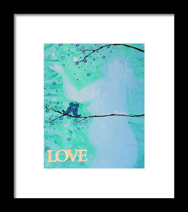 Body Prints Painting Framed Print featuring the painting Love Birds In Blue Maternity by April Kasper