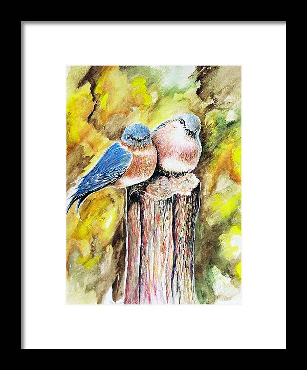 Love Birds Framed Print featuring the painting Love Birds by Paul Sandilands