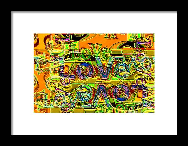Abstract Framed Print featuring the digital art Love Contest by Ron Bissett