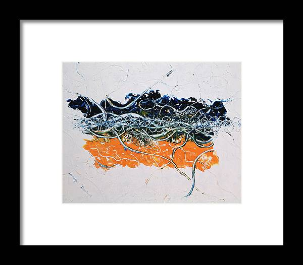 Abstract Framed Print featuring the painting Love by Dominique Boutaud