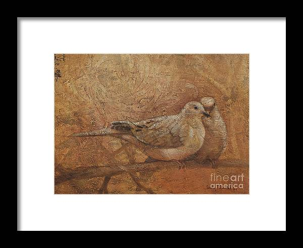 Doves Framed Print featuring the painting Love Doves by Sandra Quintus