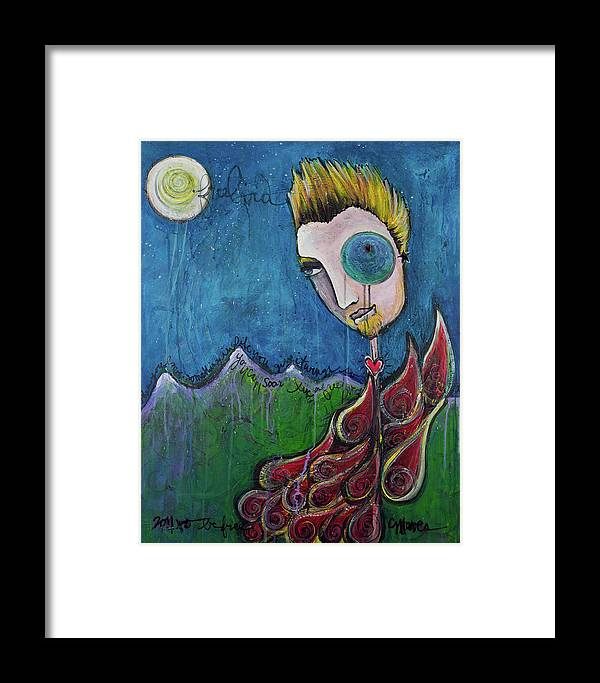 Birdman Framed Print featuring the painting Love For Birdman by Laurie Maves ART