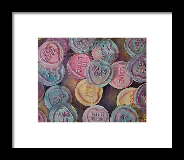 Candy Framed Print featuring the painting Love Hearts by Victoria Heryet