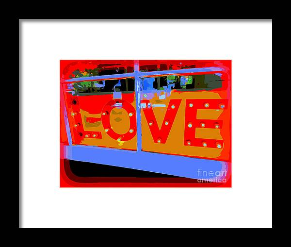 Digital Art Framed Print featuring the digital art Love In Lights by Ed Weidman