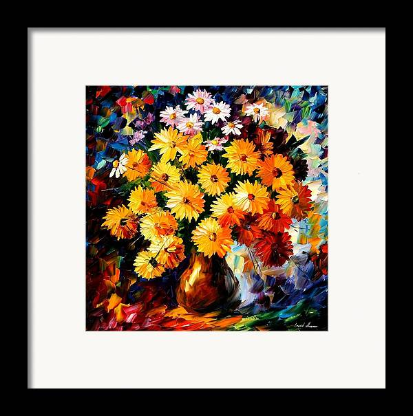 Flowers Framed Print featuring the painting Love Irradiation by Leonid Afremov