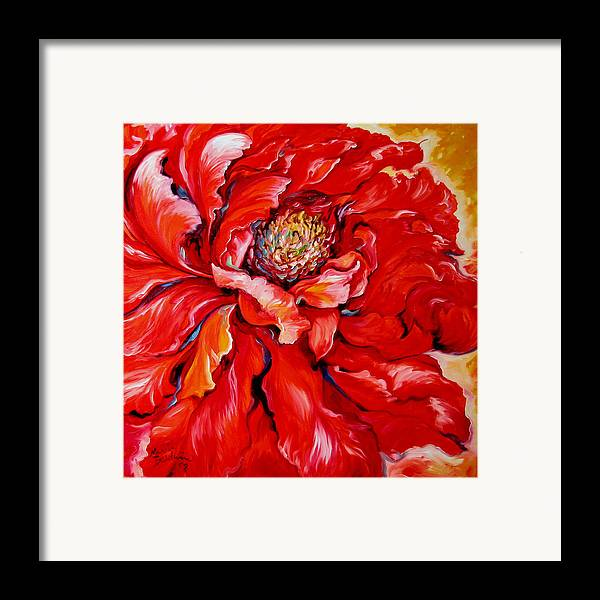Red Framed Print featuring the painting Love Is Forever Red Peony by Marcia Baldwin