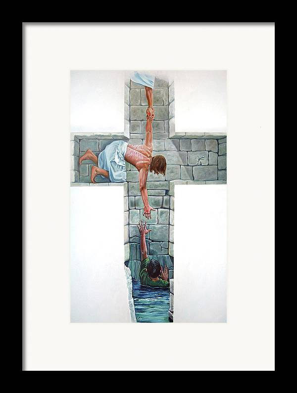 Cross Framed Print featuring the painting Love by Larry Cole