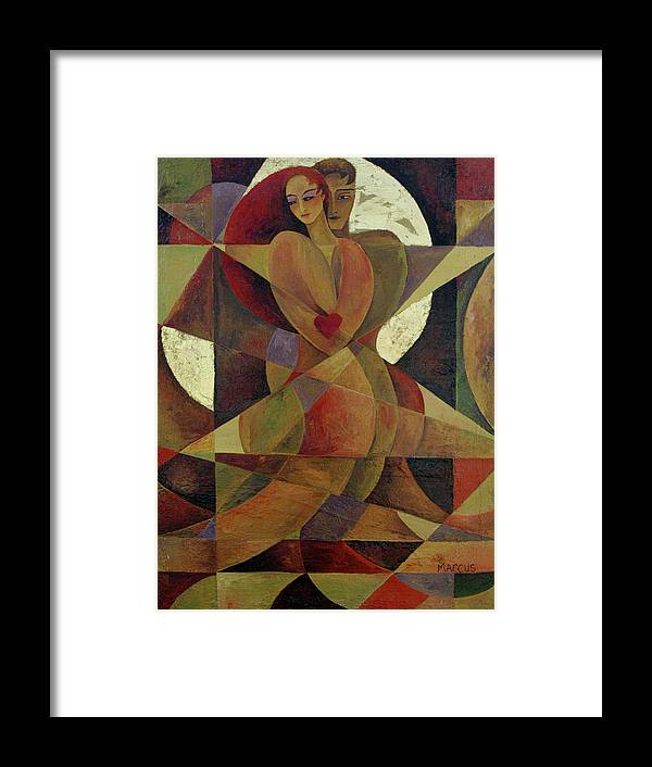 Love. Lovers Framed Print featuring the painting Love Light 1 by Leslie Marcus