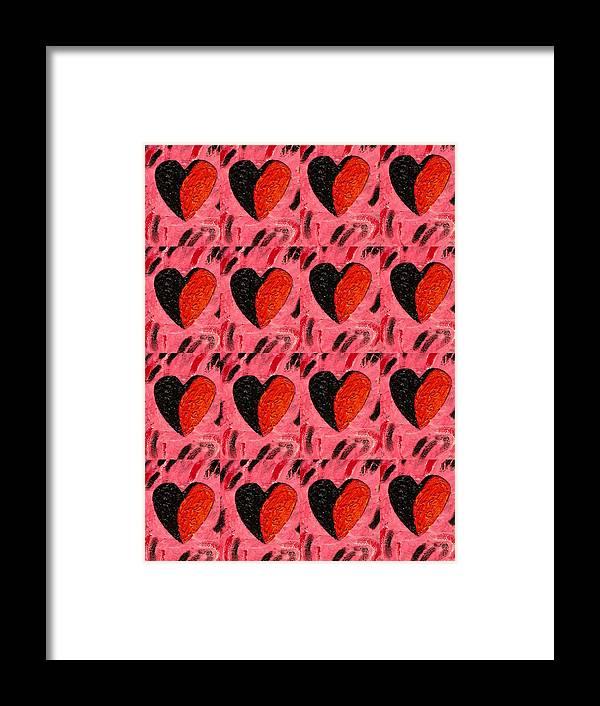 Hearts Framed Print featuring the painting Love My Boyfriend by Nelleke Pienaar