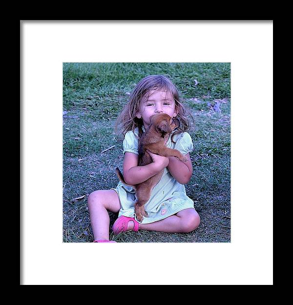 Framed Print featuring the photograph Love My New Puppy by Katrina Johns