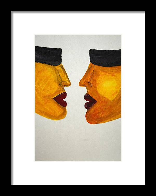 Abstract .surrealistic. Framed Print featuring the painting Love-on-line by Irum Iftikhar
