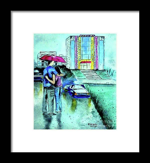 Love Rain Framed Print featuring the drawing Love Rain by Rishabh Ranjan