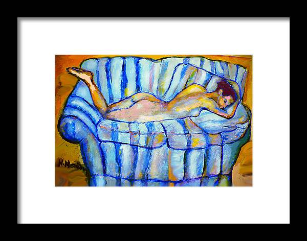 Nude Framed Print featuring the painting Love Seat by Noredin Morgan