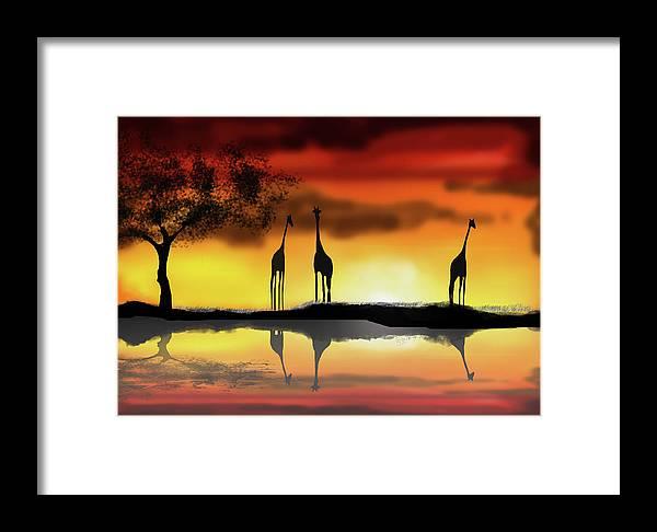 Africa Sunset Digital Painting Framed Print featuring the digital art Love Someone Else by Leonard Amegbletor