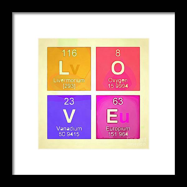 Love Square Periodic Table Elements Framed Print By Edward Fielding